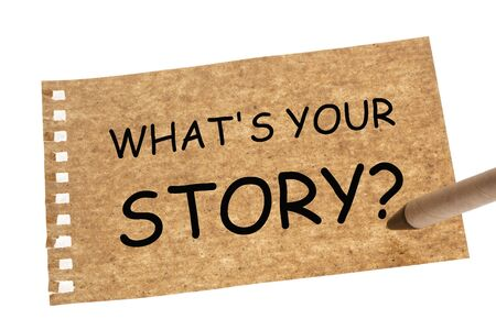 Whats your story question written on recycled paper sheet and recycled paper pen. Zdjęcie Seryjne