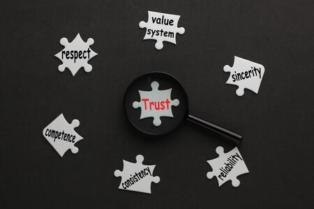 Trust diagram with magnifying glass on white puzzle pieces. Business concept.