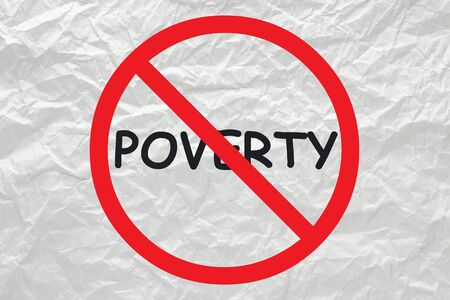 Poverty stop sign on white crumpled paper. Stockfoto