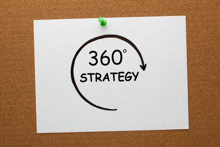 360 degrees Strategy concept on white paper sheet pinned on cork board.