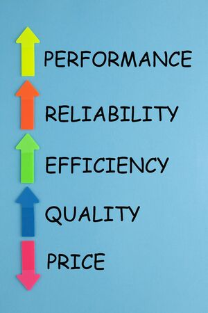 Decreased price compare with increased quality, reliability, efficiency and performance and colorful arrows. Stockfoto