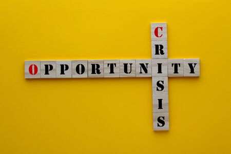The wordss crisis and opportunity in wooden blocks on yellow background.
