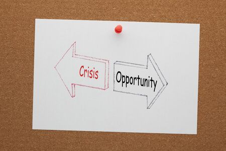 The words crisis and opportunity written in two arrows on white paper sheet pinned on cork board.