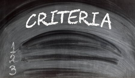 Choosing criteria for effective decision making blank list on blackboard. Empty space for text. Stockfoto