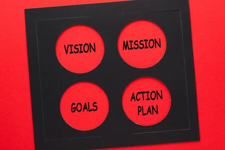 The words vision, mission, goals and action plan written in red circles. Stockfoto