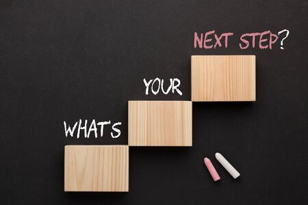 What's your next step question on wooden blocks in the shape of a staircase. Business concept. Stockfoto