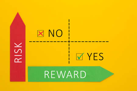 Risk vs reward matrix showing the lowest risk and the greatest reward. Perfect business plan Standard-Bild