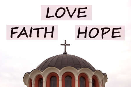 Faith Love Hope on cross church background.