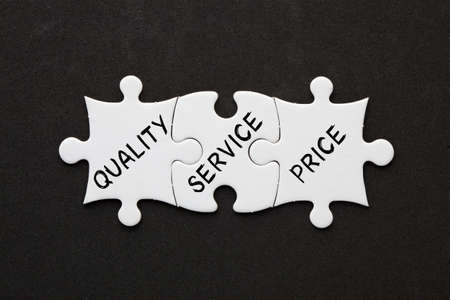 Three Puzzle showing quality, service and price