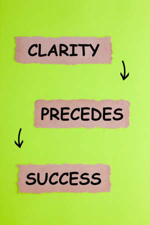 Clarity Precedes Success text on 3 piece of torn paper over green surface.