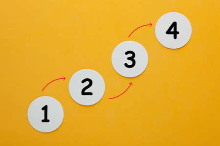 Number step 1, 2, 3 and 4 graphical representation of the process. Business Concept for new beginnings 免版税图像