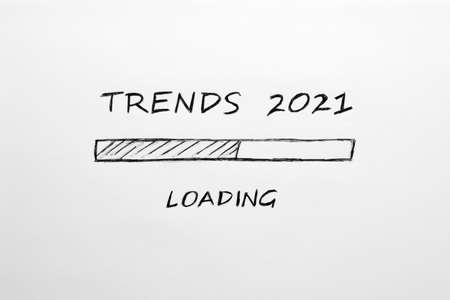 2021 Trends loading bar concept on white background.