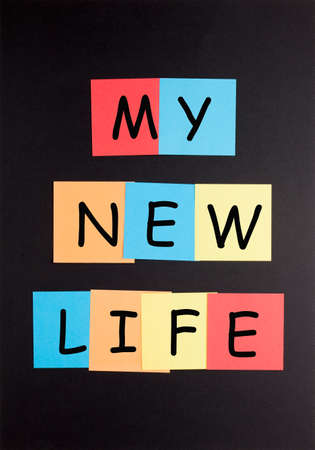 My new life text on colorful notes.