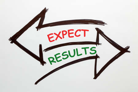 The words Expectations and Results written in two arrows on a white background. Business concept.
