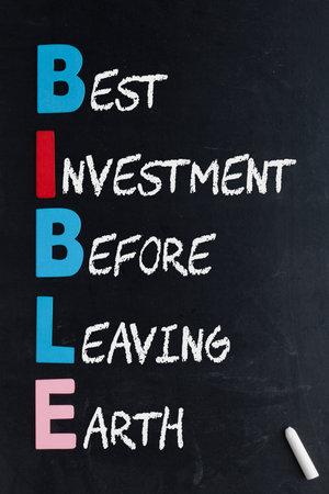 Bible acronym written in chalk on a blackboard.