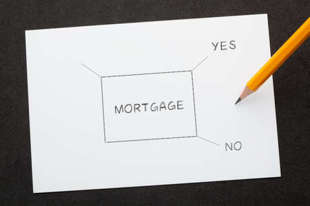 Mortgage decision concept with flowchart on old paper.