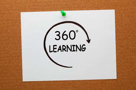 360 degrees learning concept on white paper sheet pinned on cork board. Stock fotó