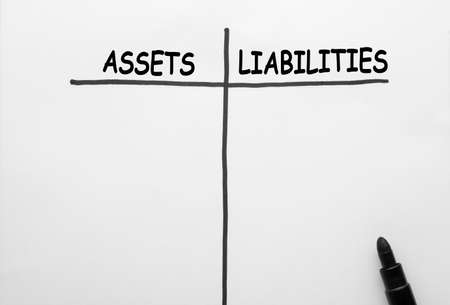 Assets and Liabilities concept on a white background.