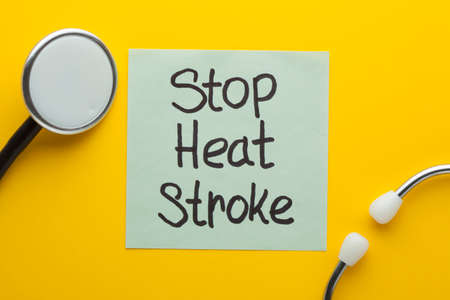 Stop heart stroke text on note and stethoscope. Medical concept.