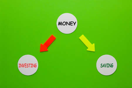 Money, investing and saving diagram on circles. 免版税图像