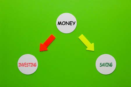 Money, investing and saving diagram on circles. 免版税图像