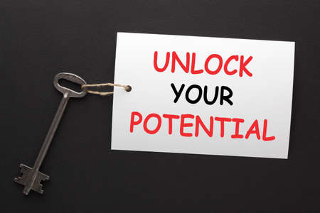 Unlock your potential message with key. The concept of success.