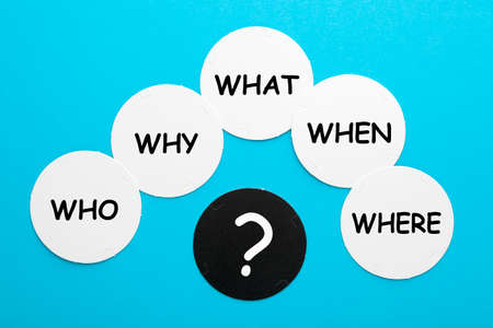 Who, why, where, when and what questions whose answers are considered basic in information-gathering or problem-solving. Stock Photo
