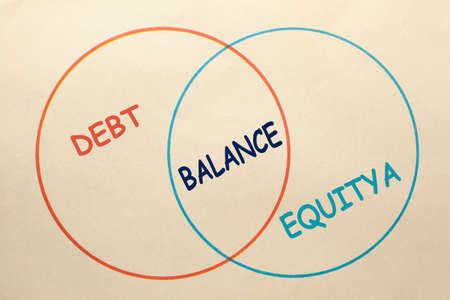 Diagram of debt, equity and balance area in 2 circles on old paper sheet. Фото со стока