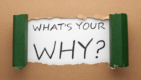What's Your Why text under torn paper. Business concept
