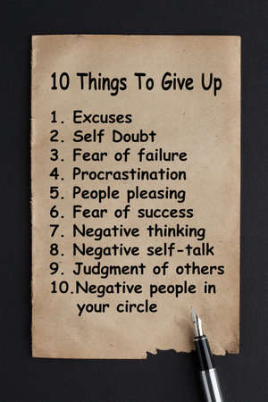 10 Things To Give Up. Creative inspiring motivation quote concept Фото со стока