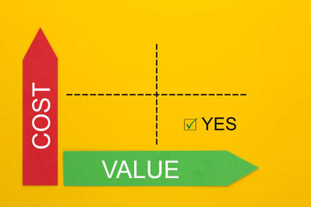Cost and Value diagram concept. Perfect business plan Фото со стока