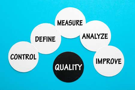 Quality control concept with keywords on circles. Фото со стока