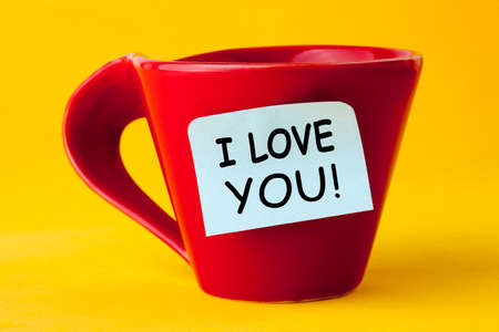 I Love you message on red cup. Love and Valentines day concept.