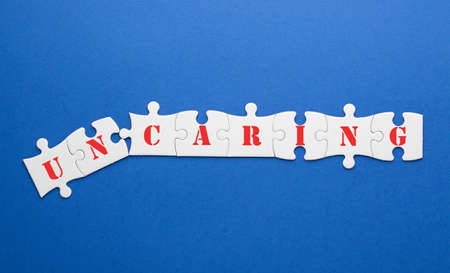 Changing the word uncaring transformed to caring on puzzle.