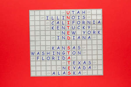 United States country concept. Crossword with letters