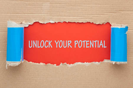 Unlock your potential message under torn paper.