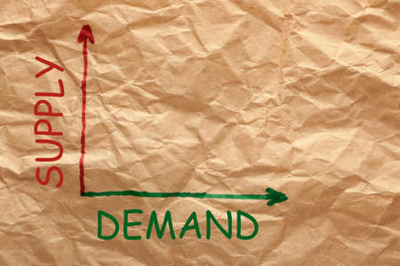 Supply and Demand graph on a wrinkled paper. Business concept. 免版税图像