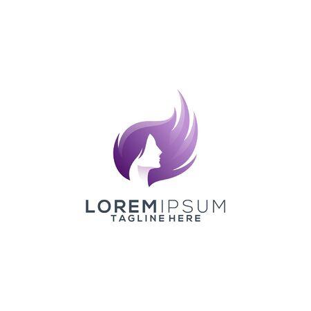 colorful hair beauty logo design vector