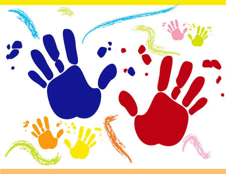 finger paint: Vector with printed hands on white background for different uses