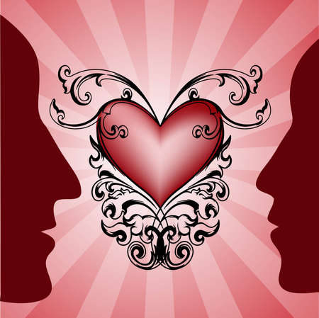 femininity: Vector with silhouette of man and woman and decorative heart for different uses  Illustration