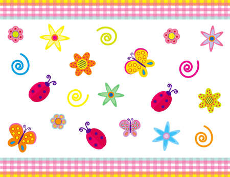 butterfly ladybird: Vector background with summer  symbols for different uses