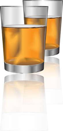 bebidas alcohÓlicas: Dos vasos de bebida alcohólica con la reflexión para diferentes usos Vectores