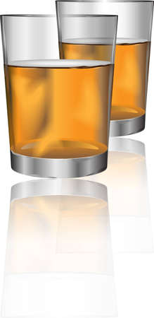 alcoholic beverage: Two glasses of alcohol drink with reflection for different uses Illustration