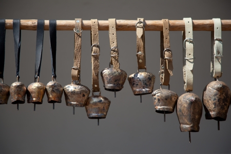 Copper bells, different sizes. Stock Photo
