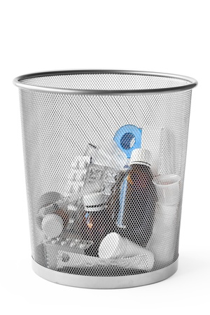 Different useless medicines thrown in the dustbin  photo