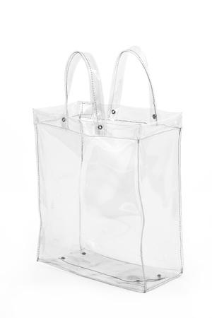 빈 투명한 플라스틱 가방, 흰색 배경에 고립
