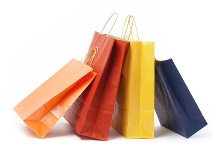 Several color paper bags on white background  photo