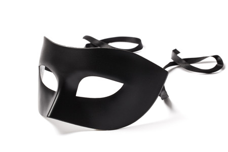black mask: Image of carnival mask isolated on white background. Stock Photo