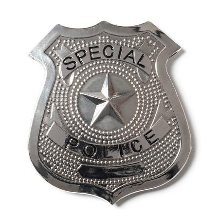insignias: Placa de polic�a especial con trazado de recorte aislado en blanco Foto de archivo