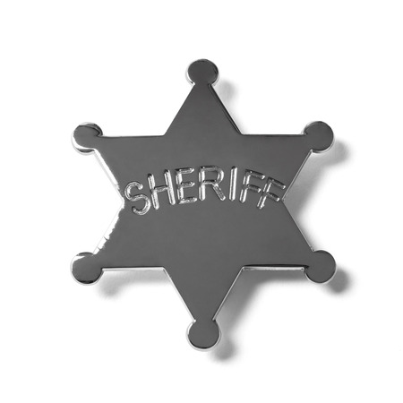 star path: Sheriff star badge with working path isolated on white Stock Photo